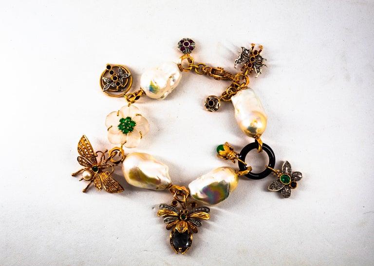 Art Nouveau White Diamond Ruby Sapphire Emerald Tourmaline Yellow Gold Bracelet For Sale 9