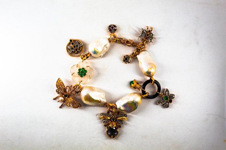 Art Nouveau White Diamond Ruby Sapphire Emerald Tourmaline Yellow Gold Bracelet For Sale 10