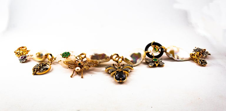 Art Nouveau White Diamond Ruby Sapphire Emerald Tourmaline Yellow Gold Bracelet In New Condition For Sale In Naples, IT