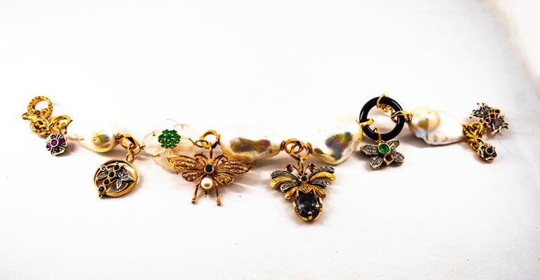Women's or Men's Art Nouveau White Diamond Ruby Sapphire Emerald Tourmaline Yellow Gold Bracelet For Sale