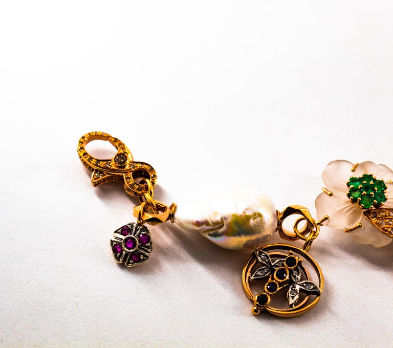 Art Nouveau White Diamond Ruby Sapphire Emerald Tourmaline Yellow Gold Bracelet For Sale 2