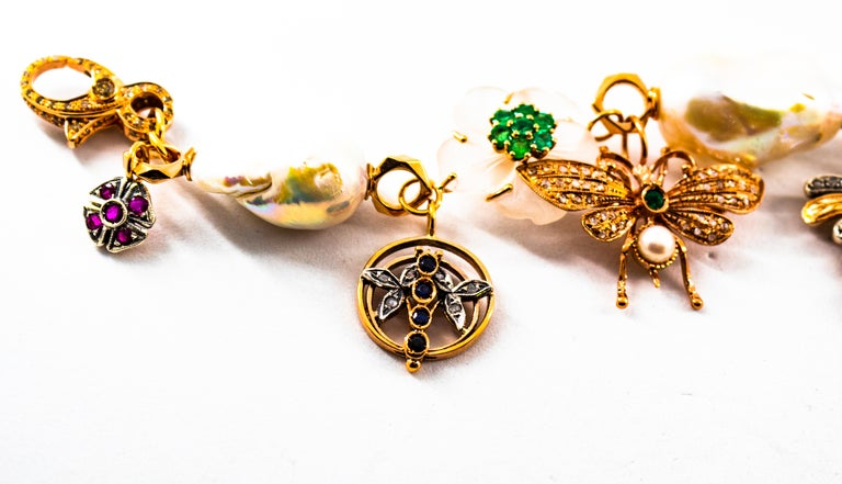 Art Nouveau White Diamond Ruby Sapphire Emerald Tourmaline Yellow Gold Bracelet For Sale 3
