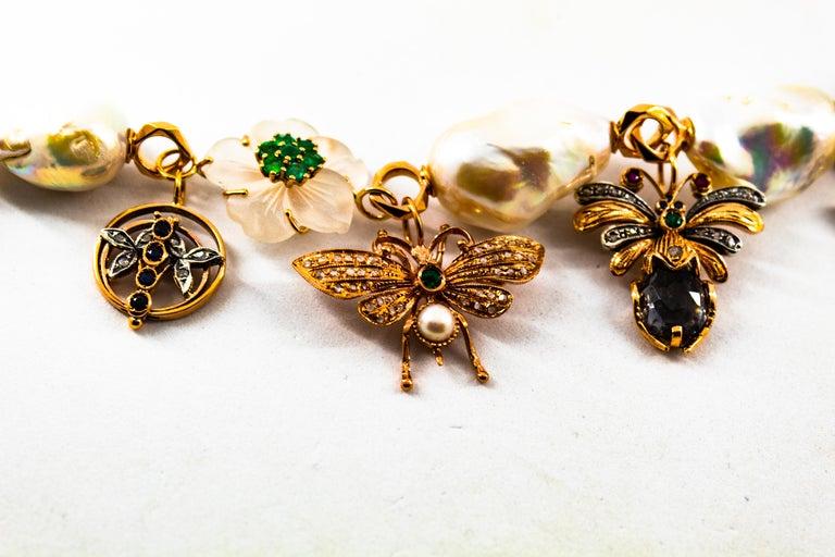 Art Nouveau White Diamond Ruby Sapphire Emerald Tourmaline Yellow Gold Bracelet For Sale 4