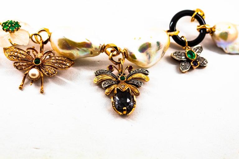 Art Nouveau White Diamond Ruby Sapphire Emerald Tourmaline Yellow Gold Bracelet For Sale 5