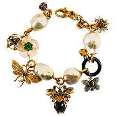 Art Nouveau White Diamond Ruby Sapphire Emerald Tourmaline Yellow Gold Bracelet