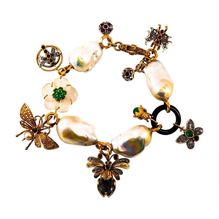 Art Nouveau White Diamond Ruby Sapphire Emerald Tourmaline Yellow Gold Bracelet For Sale