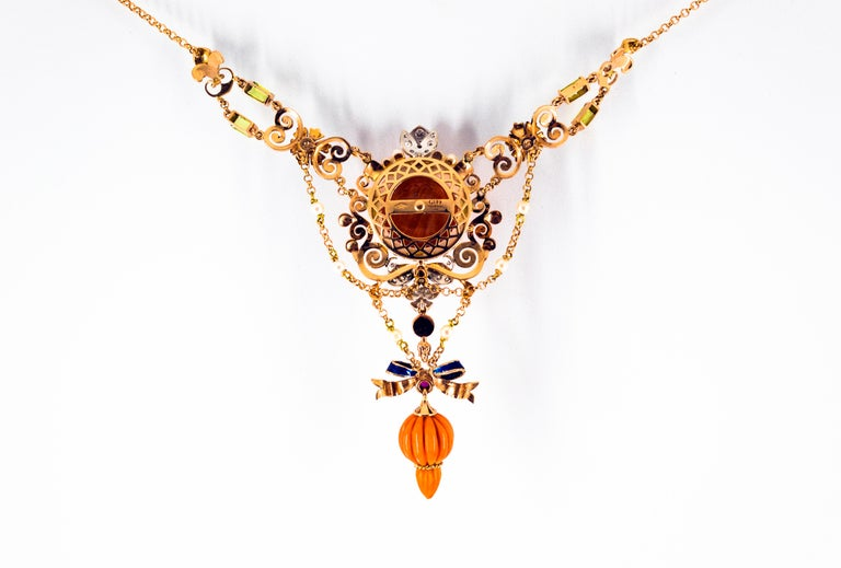 Art Nouveau White Diamond Ruby Turquoise Coral Pearl Enamel Yellow Gold Necklace For Sale 6