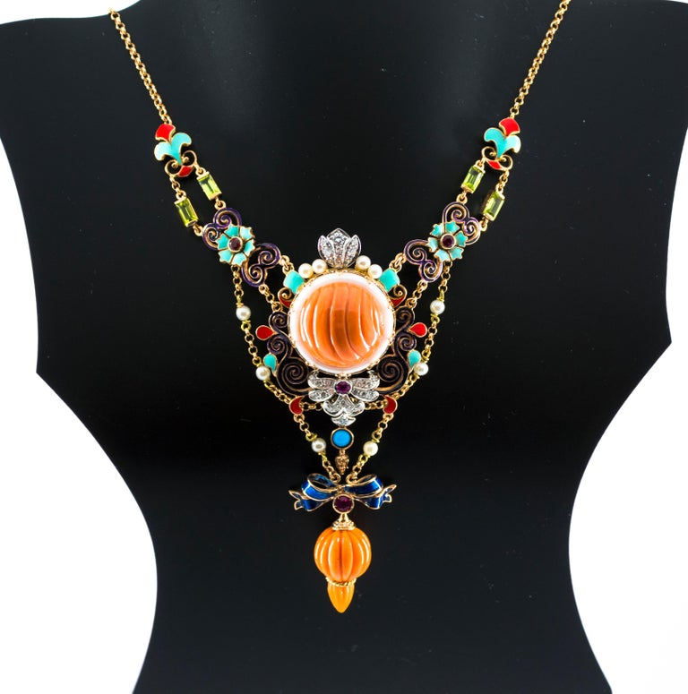 Art Nouveau White Diamond Ruby Turquoise Coral Pearl Enamel Yellow Gold Necklace For Sale 7