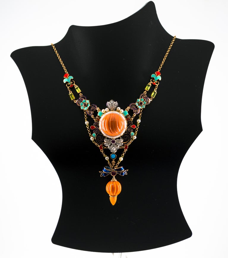 Art Nouveau White Diamond Ruby Turquoise Coral Pearl Enamel Yellow Gold Necklace For Sale 8