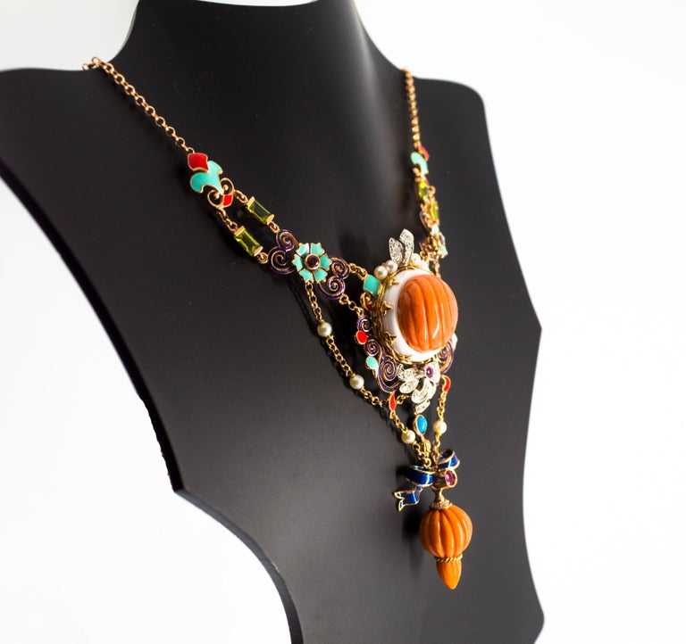 Art Nouveau White Diamond Ruby Turquoise Coral Pearl Enamel Yellow Gold Necklace For Sale 9