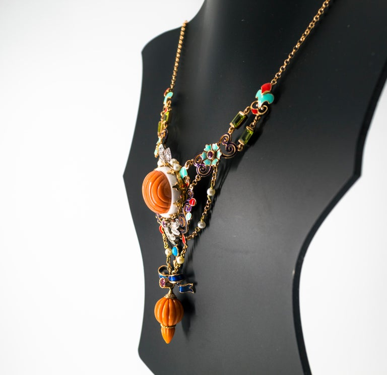 Art Nouveau White Diamond Ruby Turquoise Coral Pearl Enamel Yellow Gold Necklace For Sale 10