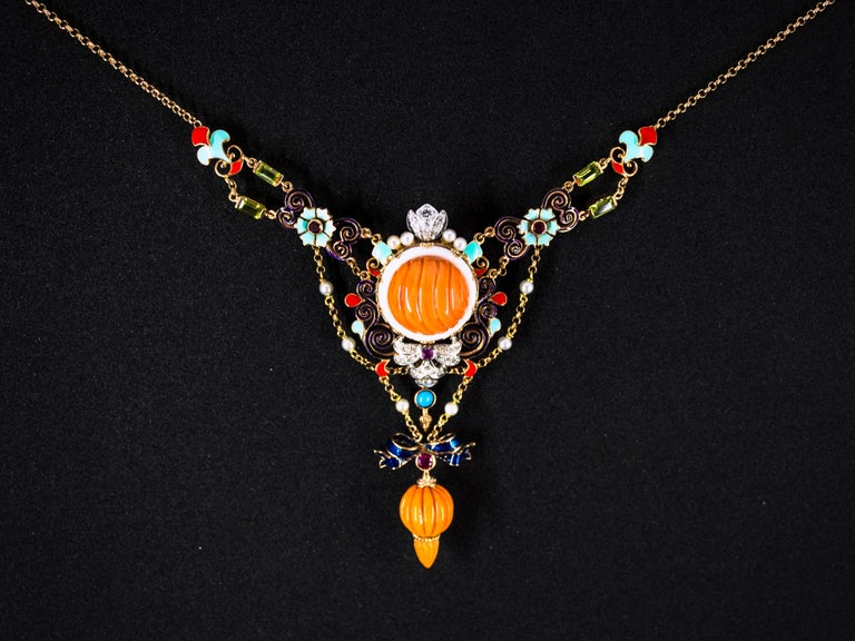 Art Nouveau White Diamond Ruby Turquoise Coral Pearl Enamel Yellow Gold Necklace For Sale 11