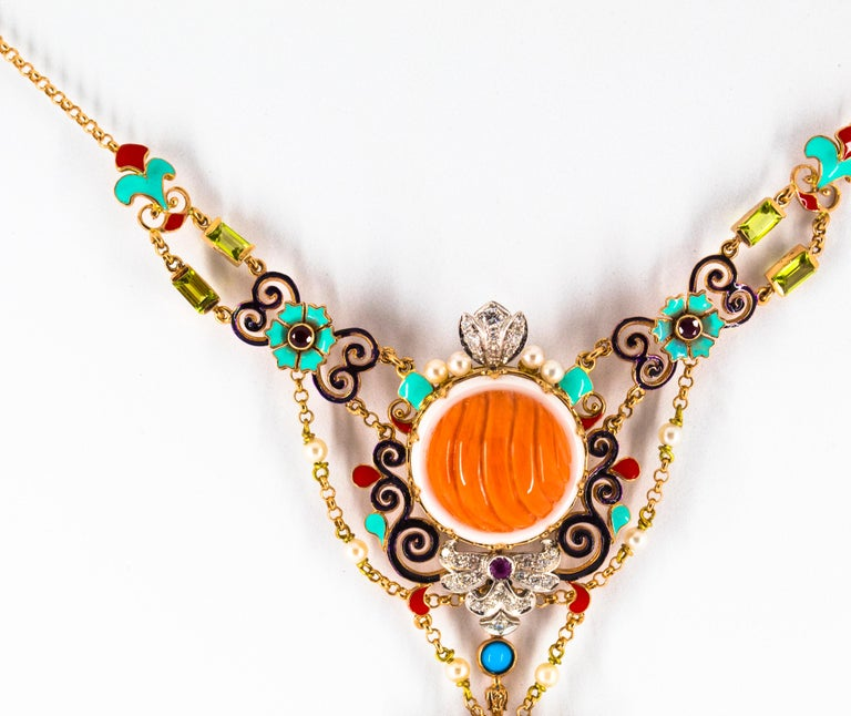 Women's or Men's Art Nouveau White Diamond Ruby Turquoise Coral Pearl Enamel Yellow Gold Necklace For Sale