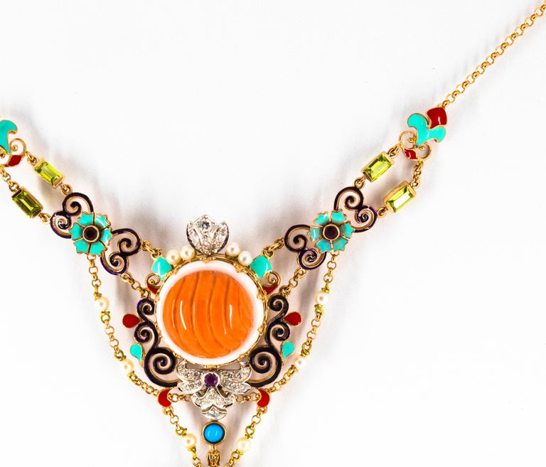 Art Nouveau White Diamond Ruby Turquoise Coral Pearl Enamel Yellow Gold Necklace For Sale 1