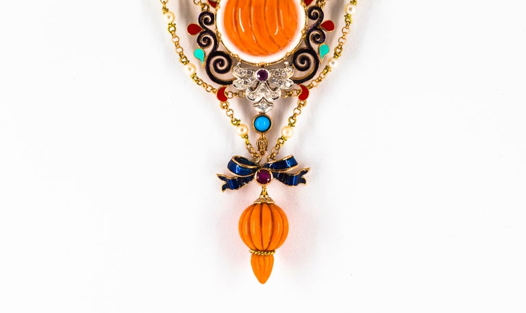 Art Nouveau White Diamond Ruby Turquoise Coral Pearl Enamel Yellow Gold Necklace For Sale 2