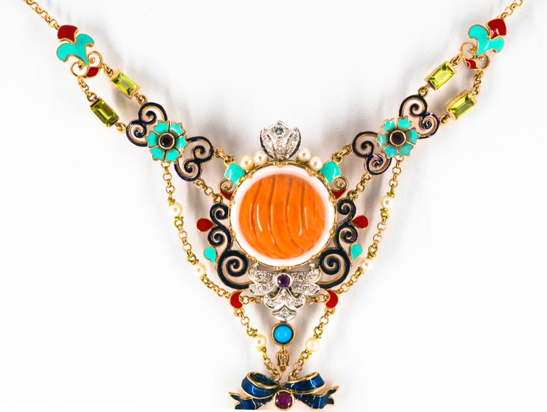 Art Nouveau White Diamond Ruby Turquoise Coral Pearl Enamel Yellow Gold Necklace For Sale 4