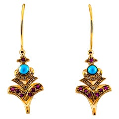 Art Nouveau White Diamond Ruby Turquoise Yellow Gold Lever-Back Drop Earrings
