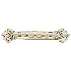 Art Nouveau White Enamel, Natural Pearl, Diamond and Gold Brooch with Cert