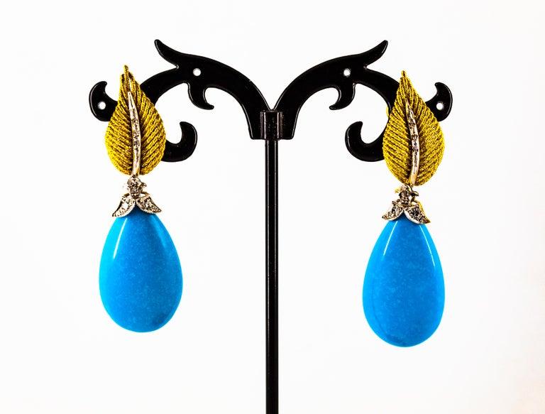 Art Nouveau White Modern Cut Diamond Turquoise Yellow Gold Clip-On Earrings 5