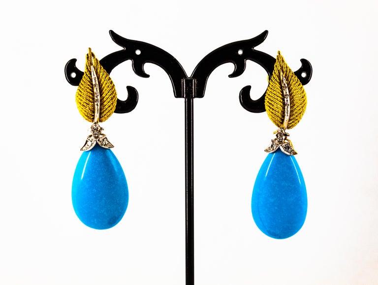 Art Nouveau White Modern Cut Diamond Turquoise Yellow Gold Clip-On Earrings 6