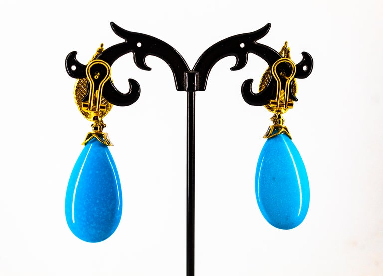 Art Nouveau White Modern Cut Diamond Turquoise Yellow Gold Clip-On Earrings 8