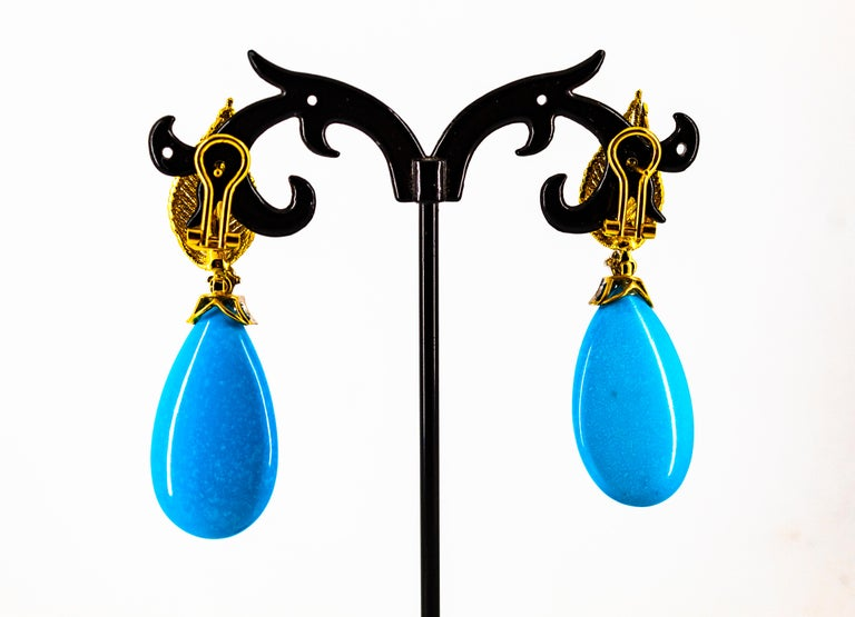Art Nouveau White Modern Cut Diamond Turquoise Yellow Gold Clip-On Earrings 9