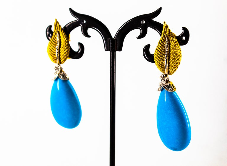 Art Nouveau White Modern Cut Diamond Turquoise Yellow Gold Clip-On Earrings 10