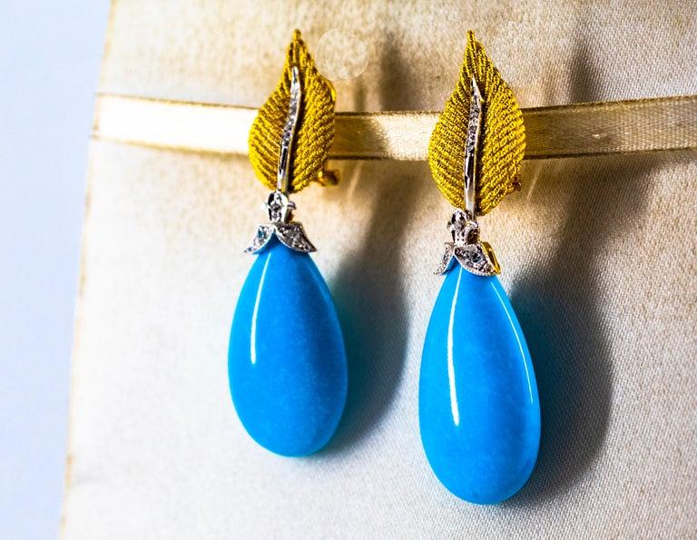 Women's or Men's Art Nouveau White Modern Cut Diamond Turquoise Yellow Gold Clip-On Earrings