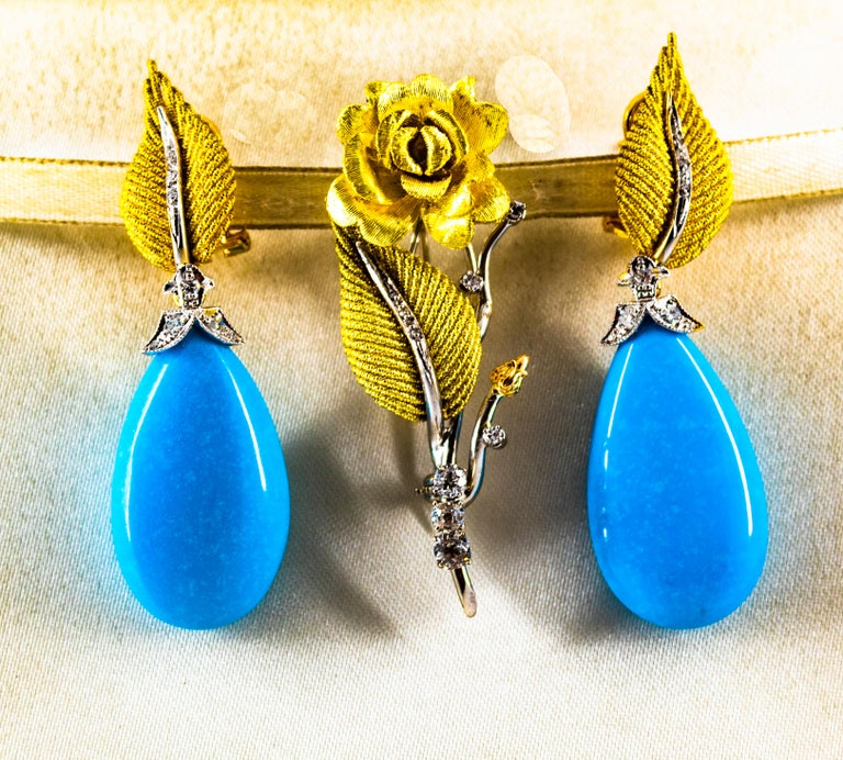Art Nouveau White Modern Cut Diamond Turquoise Yellow Gold Clip-On Earrings 2