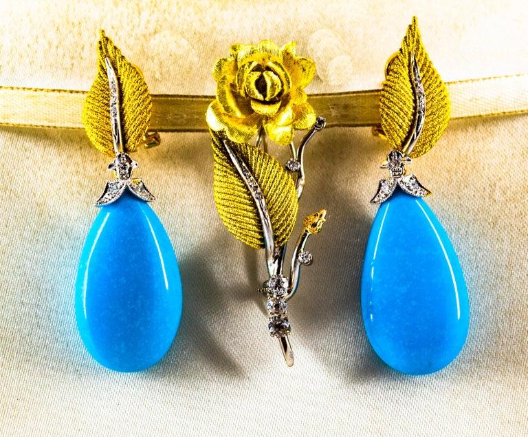 Art Nouveau White Modern Cut Diamond Turquoise Yellow Gold Clip-On Earrings 3