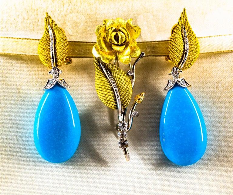 Art Nouveau White Modern Cut Diamond Turquoise Yellow Gold Clip-On Earrings 4