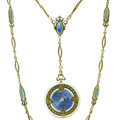 Art Nouveau Whiteside and Blank Enamel Guilloche Gold Chain Locket Pendant