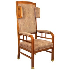 Art Nouveau Wing Chair Nut Wood with Original Upholstery, Austria, circa 1905