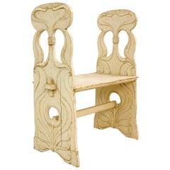 Art Nouveau Wood Bench