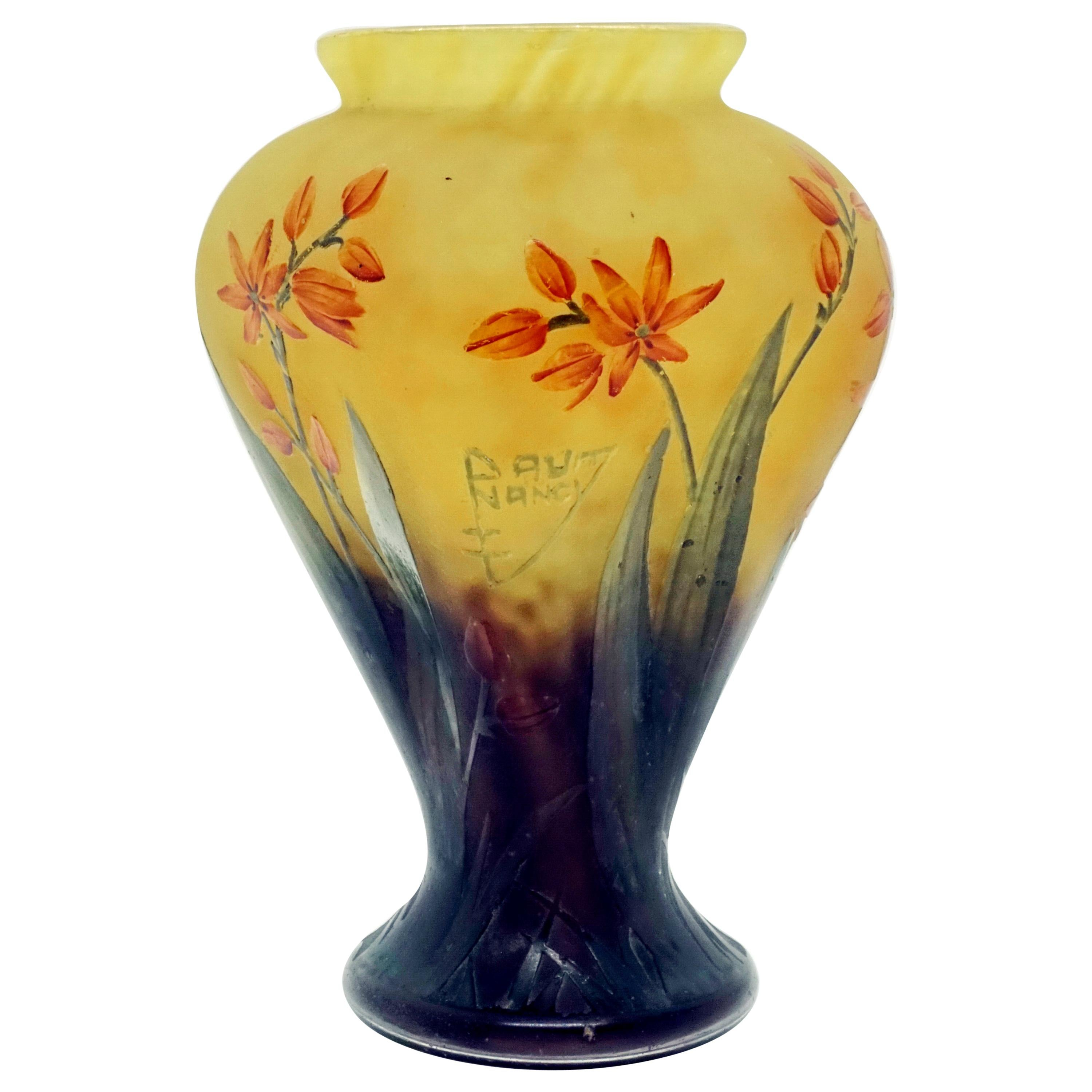 Art Nouveau Yellow and Green Vase with Orange-Red Flowers, Daum Nancy, France