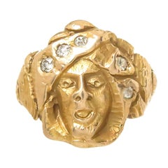 Art Nouveau Yellow Gold and Diamond Face Ring