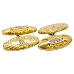 Art Nouveau Yellow Gold and Old Cut Diamond Cufflinks