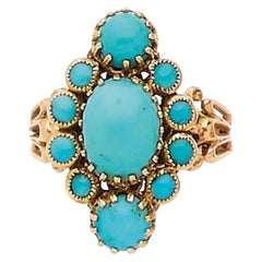 Art Nouveau Yellow Gold and Turquoise Ring
