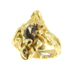 Art Nouveau Yellow Gold Diamond Flowery Engagement Ring