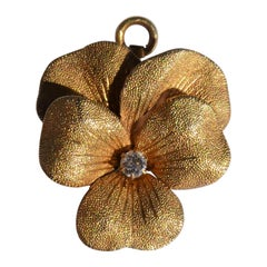Art Nouveau Yellow Gold Diamond Pansy Pendant Brooch
