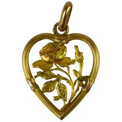 Art Nouveau Yellow Gold Rose Love Heart Frame Charm Pendant