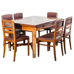 Art Noveau Dining Table and Six Dining Chairs designed by Koloman Moser