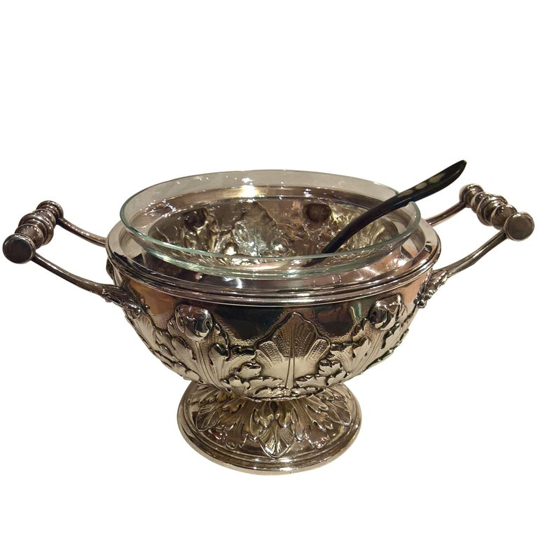 Art Noveau German Silver Caviar Server Bowl with Crystal Bowl and Spoon