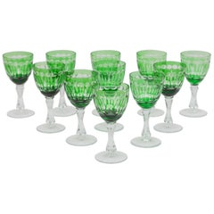 Art of Green Clear Faceted Crystal Wine Glasses designed, Val St Lamber, Belgium