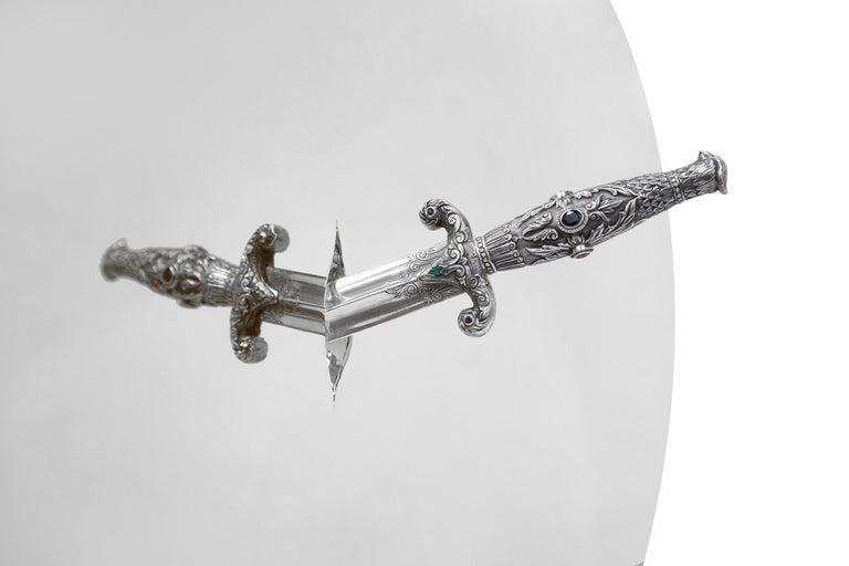 Modern Art Pirate Mirror in Polished Inox, Fine Silver, Precious Stones and Diamonds For Sale