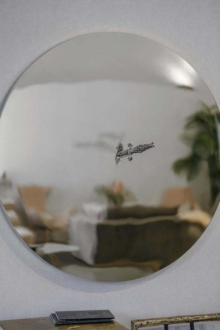 Portuguese Art Pirate Mirror in Polished Inox, Fine Silver, Precious Stones and Diamonds For Sale