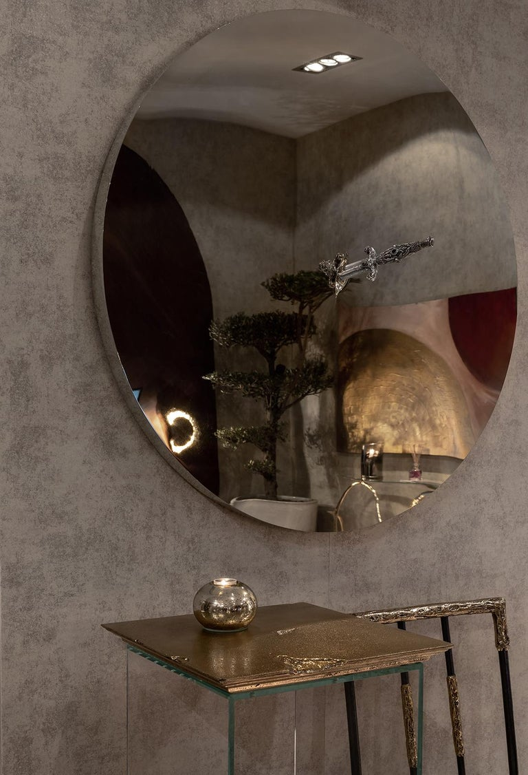Faceted Art Pirate Mirror in Polished Inox, Fine Silver, Precious Stones and Diamonds For Sale