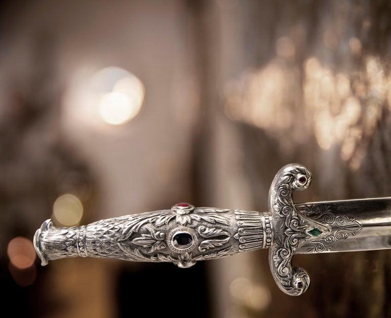 Art Pirate Mirror in Polished Inox, Fine Silver, Precious Stones and Diamonds In New Condition For Sale In Oporto, PT