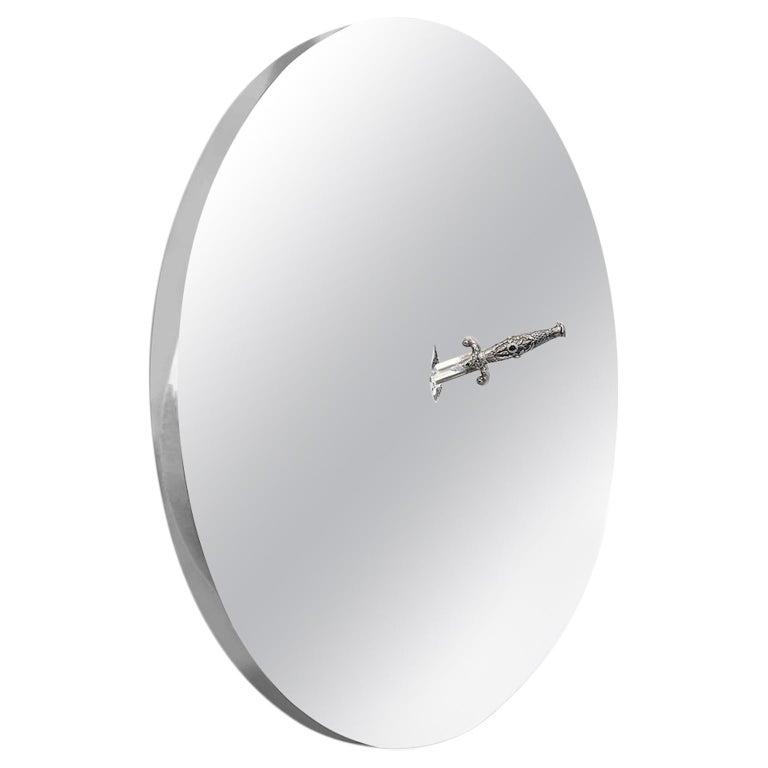 Art Pirate Mirror in Polished Inox, Fine Silver, Precious Stones and Diamonds For Sale