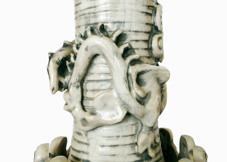 American Art Pottery Ceremonial Monks with Dragon Table Lamp For Sale
